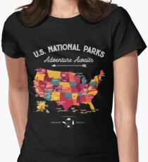 National Park Map Vintage T Shirt - All 59 National Parks Gifts Men Women Kids Women's Fitted T-Shirt