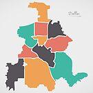 Dallas Texas Karte mit Bezirken und modernen runden Formen von Ingo Menhard
