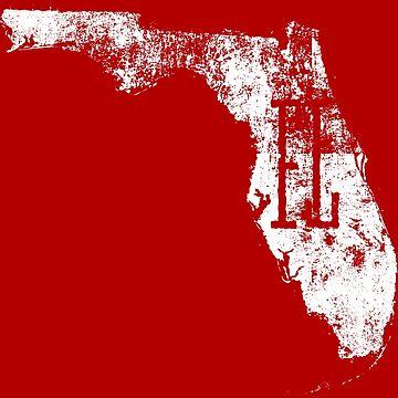 Florida Distressed Map FL Abbreviation - White by Chocodole