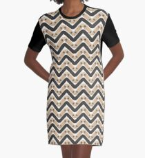 Skate or Die Chevron Pattern Graphic T-Shirt Dress