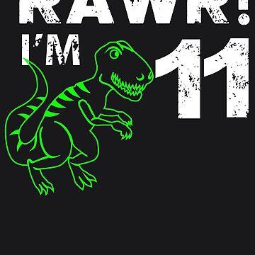 Rawr! I'm 11 Dinosaur Birthday by melsens
