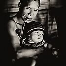 Hmong Tribesman and Son by Mark Boyle
