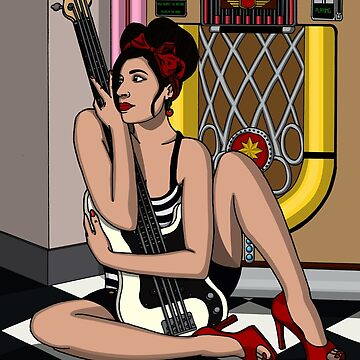Rockabilly Bassist Pin Up by Momoth
