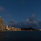 Honolulu Evening - Blue Hour with Waikiki Beach and Diamond Head Volcano by Georgia Mizuleva
