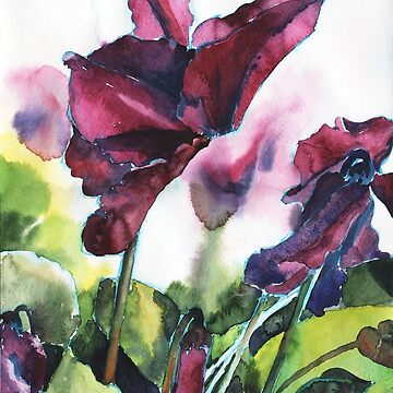 Cyclamen watercolor, pink flowers by OlgaBerlet