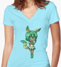 Leafeon Magical Girl Chibi Women's Fitted V-Neck T-Shirt