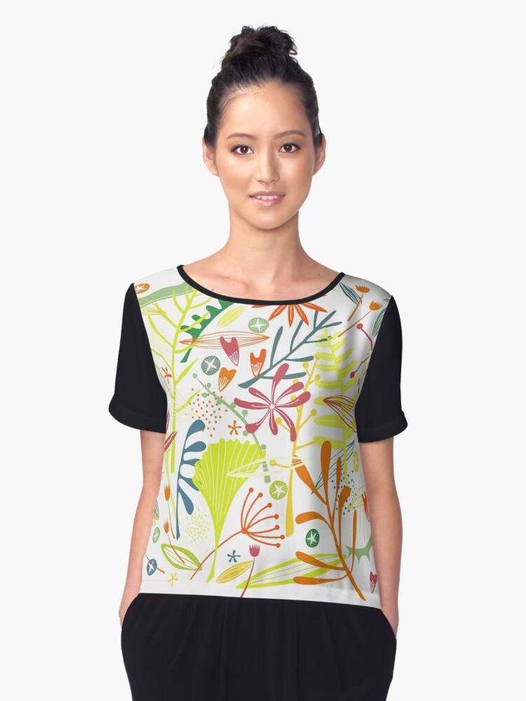 Tropical Leaves and Flowers Women's Chiffon Top Front