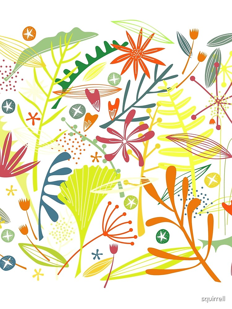 Tropical Leaves and Flowers by squirrell