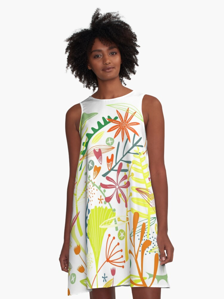 Tropical Leaves and Flowers A-Line Dress Front