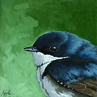 Baby Tree Swallow - realistic bird oil painting by LindaAppleArt