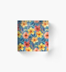 Colorful Watercolor Hibiscus on Grey Blue Acrylic Block