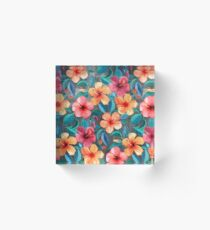 Colorful Watercolor Hibiscus on Dark Charcoal Acrylic Block