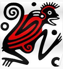 Aztec Monkey Motif Poster