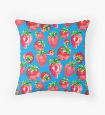 Juicy summer strawberries in watercolors, on blue background Throw Pillow