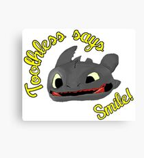 Toothless Says Smile! Canvas Print