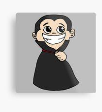 Halloween Smiling Smirk Wizard with Black Cloak - Gift Idea Metal Print