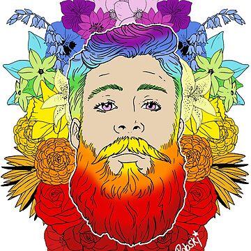 Rainbow Beard Floral Pride by RobskiArt