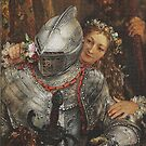 Knight in full armor with beautiful girl by edsimoneit