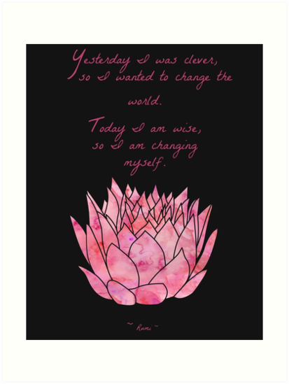 Lotus Flower Rumi Quote Inspirational Art Prints By