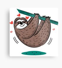 Cute Sloth Love Metal Print