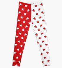 Leuchtend rot & amp; amp; Weiße Sterne Leggings