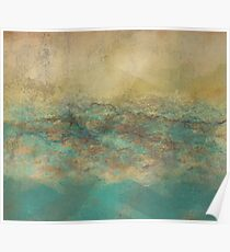 Turquoise and Natural Abstract Painting Poster