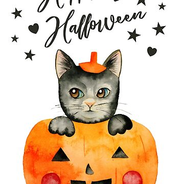 Black Halloween Cat in Jack O' Lantern by namibear
