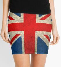 Old and Worn Distressed Vintage Union Jack Flag Mini Skirt