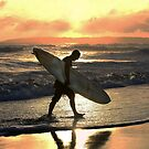 Kauai Surfer Heading Home at Sunset by Catherine Sherman