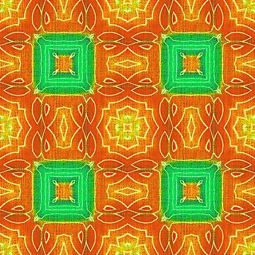 Orange Yellow Lime Green Hip Orient Bali Art by FudgePudge