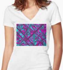 Stained Glass -- Teal, Turquoise, Pink, and Fuchsia Women's Fitted V-Neck T-Shirt