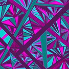 Stained Glass -- Teal, Turquoise, Pink, and Fuchsia by Clare Wuellner