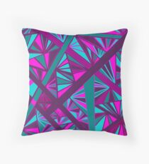 Stained Glass -- Teal, Turquoise, Pink, and Fuchsia Throw Pillow