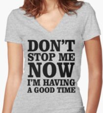 Don't Stop Women's Fitted V-Neck T-Shirt