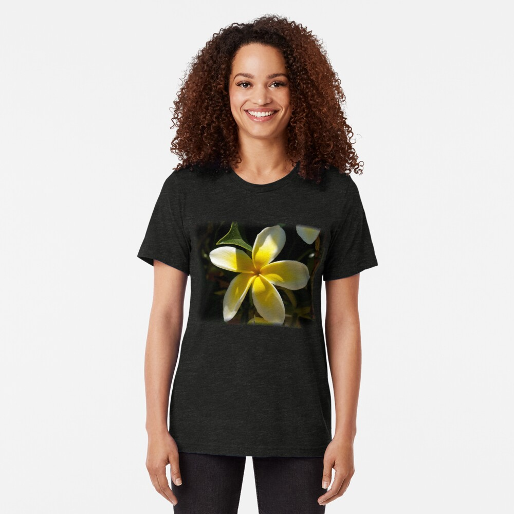 Plumeria flower from A Gardener's Notebook Tri-blend T-Shirt