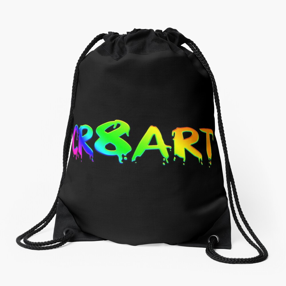 Create Art! - Rainbow colors on Black Drawstring Bag