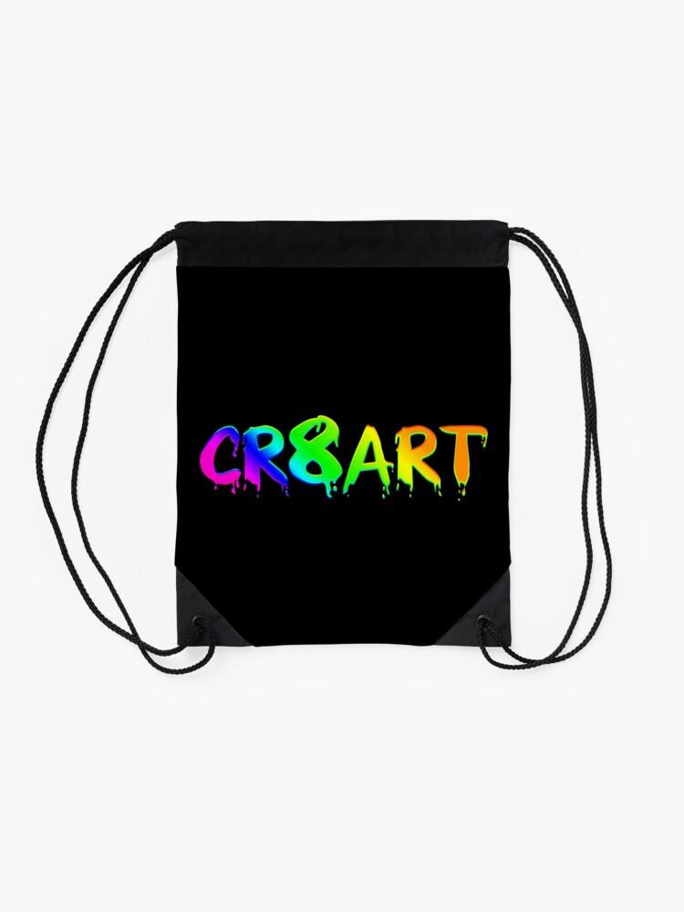 Alternate view of Create Art! - Rainbow colors on Black Drawstring Bag