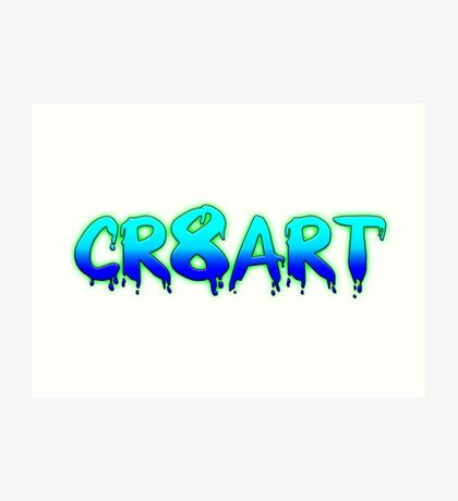 Create Art! - Turquoise and Blue on White Art Print