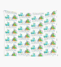London England Skyline Watercolor Wall Tapestry