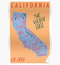 California State Map Poster