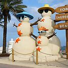 Fort Lauderdale Beach Florida Snowman by Jason Pepe