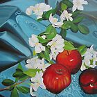 Apples and Cherry Blossoms by Leslie Gustafson