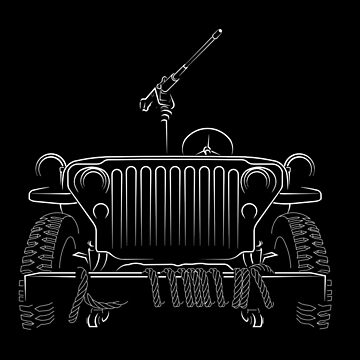 Willys Jeep 4MB - front stencil, white by mal-photography