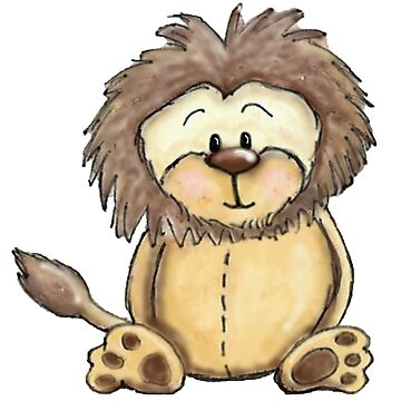 Cute Lion Watercolour & Digital Art by Hummingbirdnz