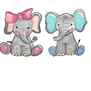 Cutest Elephant Couple by Hummingbirdnz