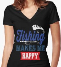 Fishing Makes Me Happy  Women's Fitted V-Neck T-Shirt