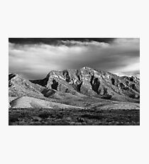 Red Rock Mountaints in Black-and-White Photographic Print