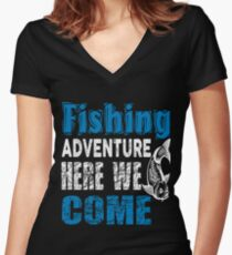 Fishing Adventure Here We Come  Women's Fitted V-Neck T-Shirt