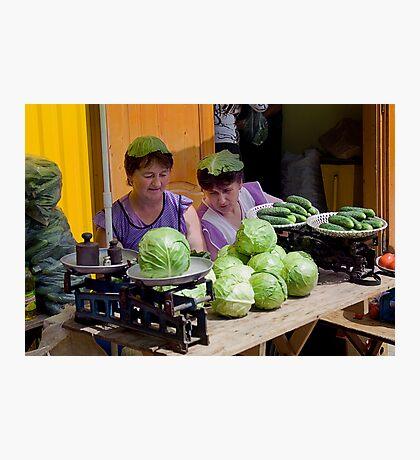 Cabbage Heads, Chortkiw Market, Ukraine Photographic Print