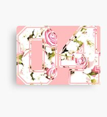 4th b-day gift roses number 04 4 birthday pink Canvas Print